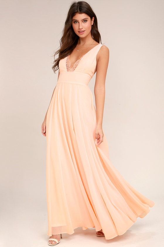 94f0751510 Lovely Peach Dress - Maxi Dress - Lace Dress