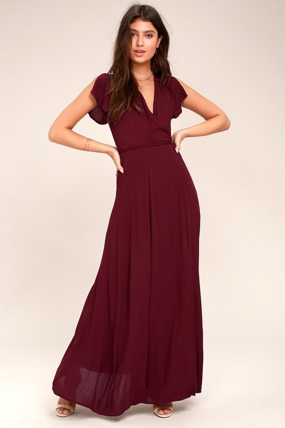 340a9d039e Lovely Burgundy Dress - Wrap Dress - Maxi Dress
