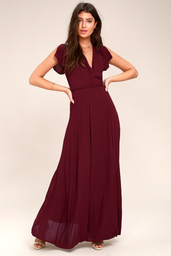 94bbdc0f5d08 Lovely Burgundy Dress - Wrap Dress - Maxi Dress