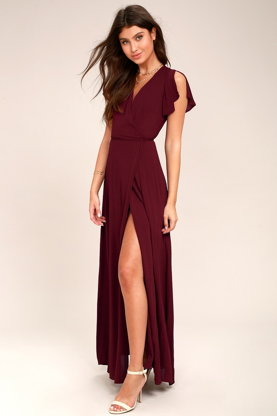 54bdedc847f Lovely Burgundy Dress - Wrap Dress - Maxi Dress