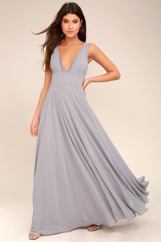 True Bliss Grey Maxi Dress 1