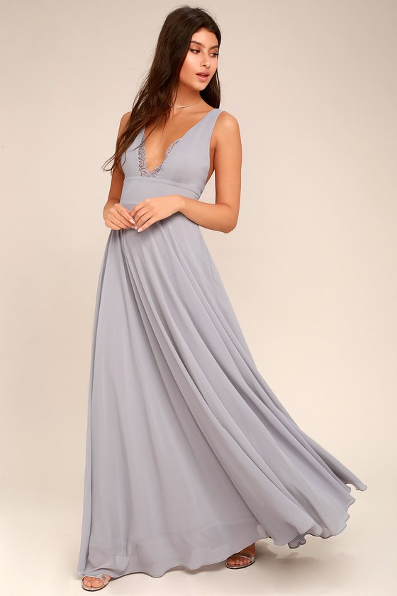 6cb7842db3 Lovely Grey Dress - Maxi Dress - Lace Dress