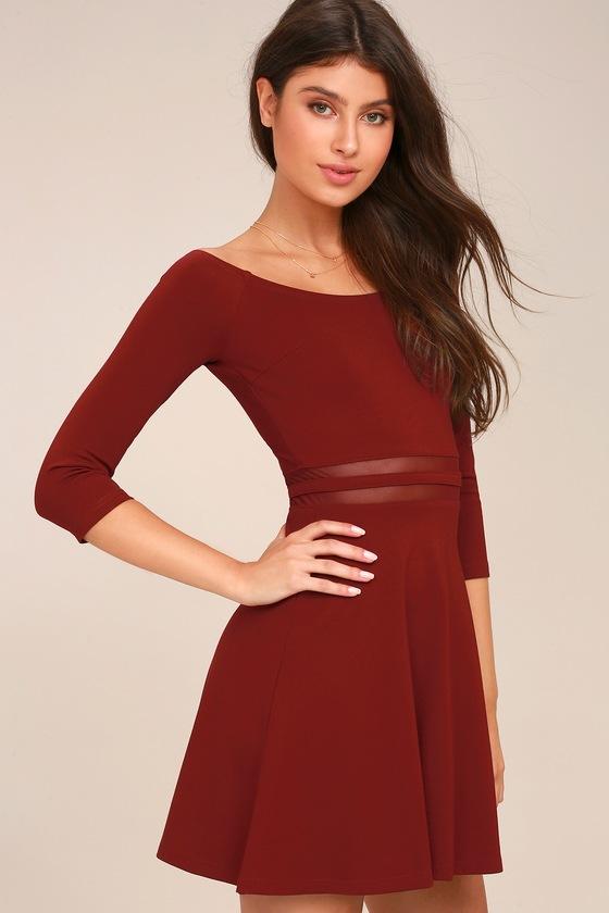 caf3ea6843 Wine Red Skater Dress - Mesh Dress - Off-the-Shoulder Dress