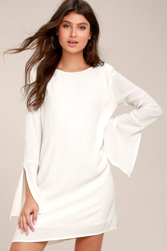 Cute White Dress - Long Sleeve Dress - Open Back Shift Dress