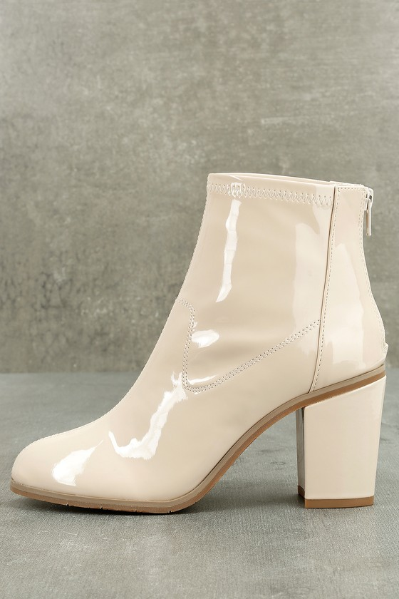 BC Footwear Ringmaster Nude Patent Ankle Booties 1
