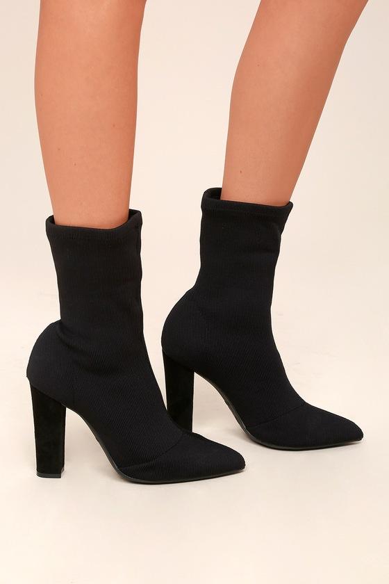 black boots black knit boots mid calf boots