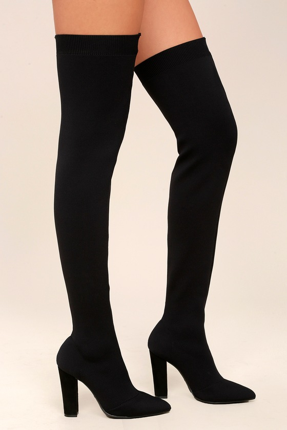06494f4087c Sexy Black Over the Knee Boots - Knit Thigh High Boots