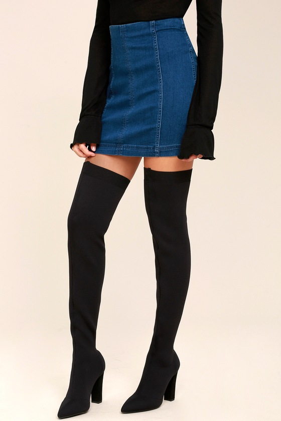 31d67abce05 Sexy Black Over the Knee Boots - Knit Thigh High Boots