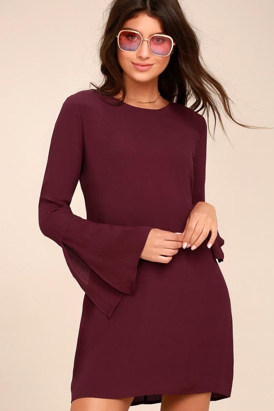 Purple Dress - Long Sleeve Dress - Open Back Shift Dress