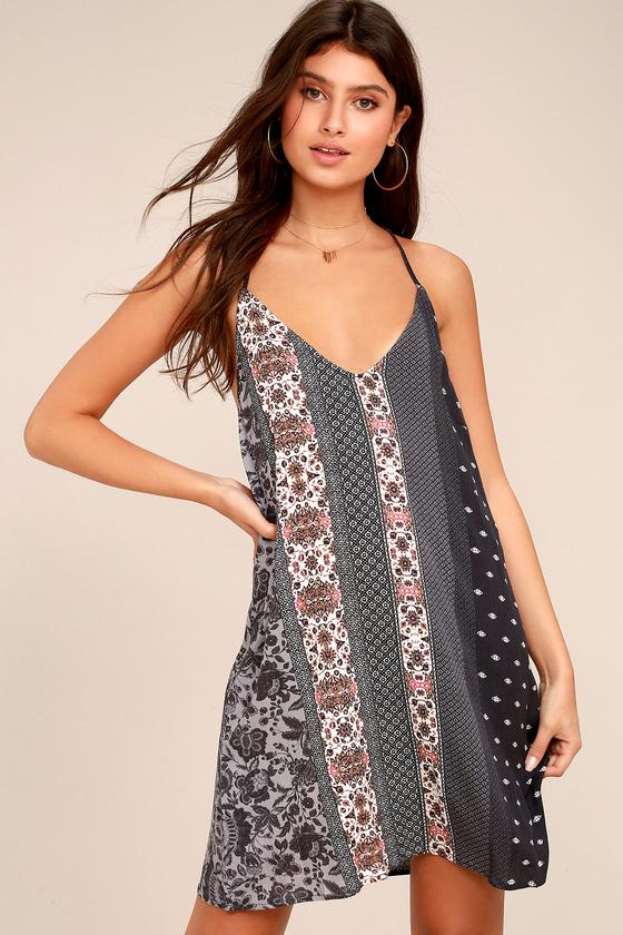 Sage the Label Joscelin Denim Blue Print Swing Dress 1