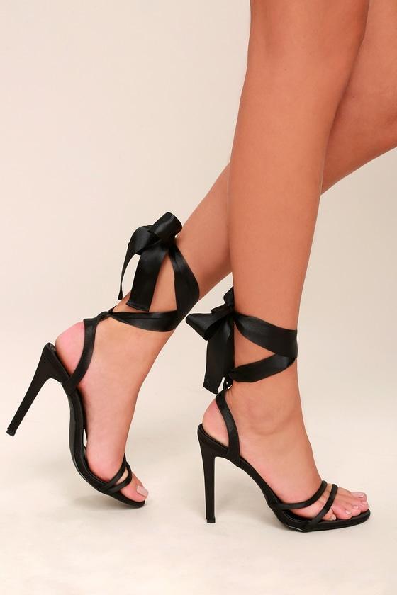 Zali Black Satin Lace-Up Heels 4