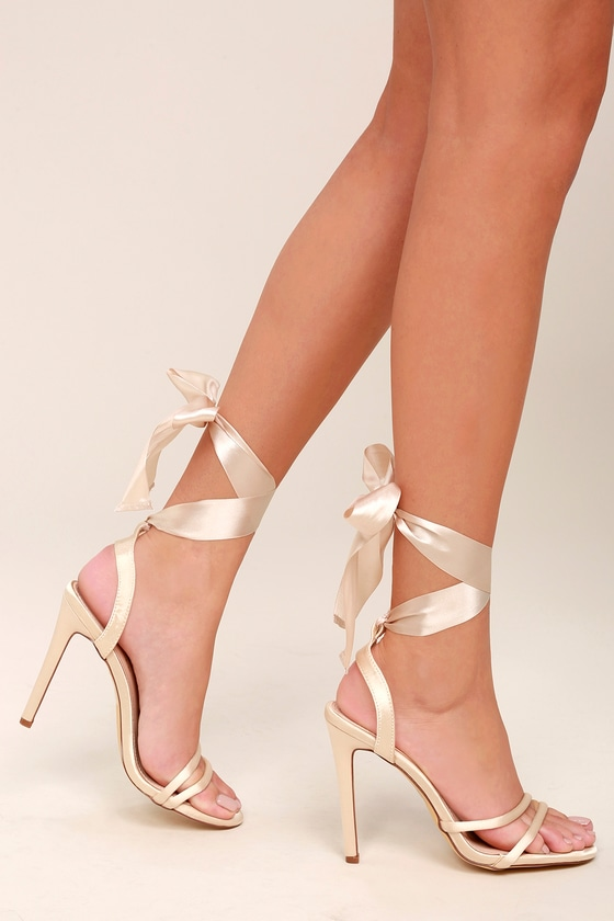 Zali Nude Satin Lace-Up Heels 5