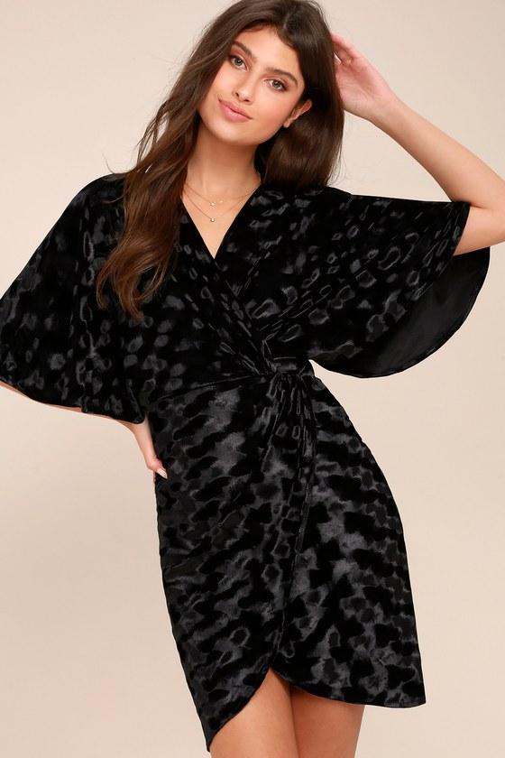 Mesmerize on the Prize Black Velvet Wrap Dress 2