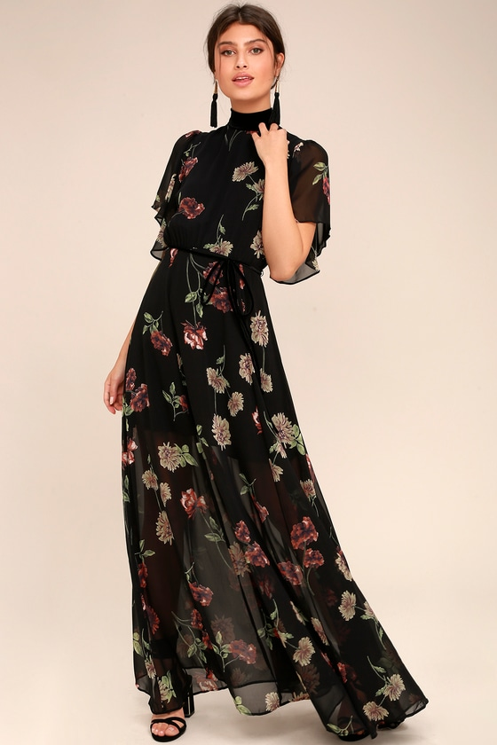 lovely black floral print dress maxi dress ruffled dress