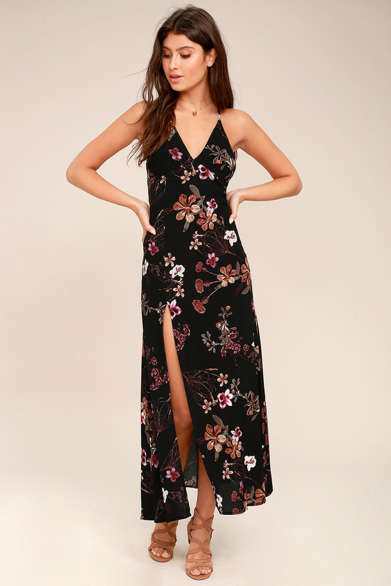 Sugar Land Black Floral Print Maxi Dress 1