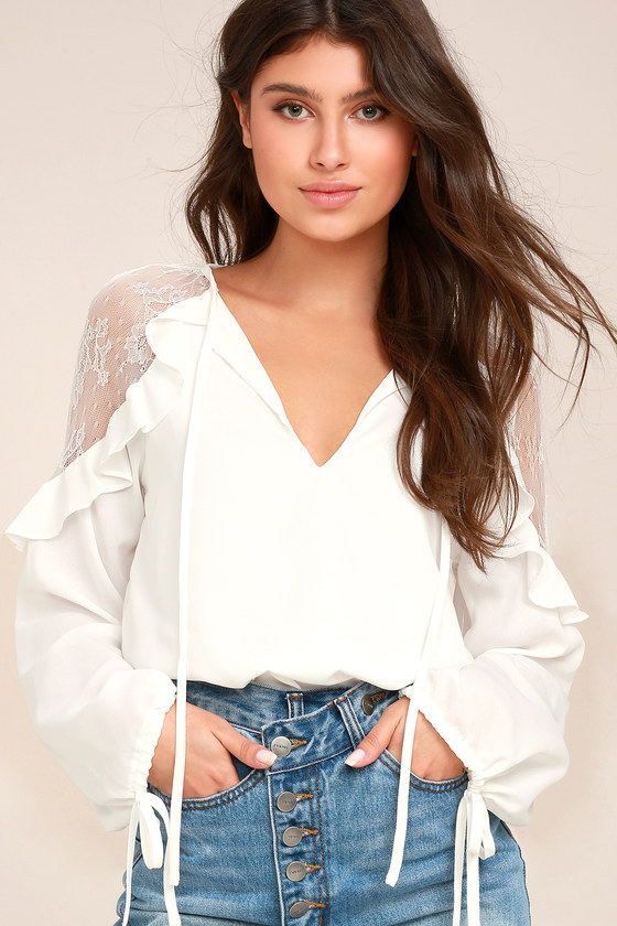 Glorious Day White Lace Long Sleeve Top 2