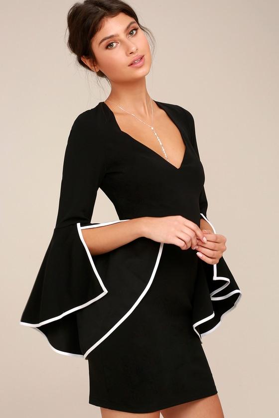 Chic Black Dress - Bodycon Dress - Bell Sleeve Dress