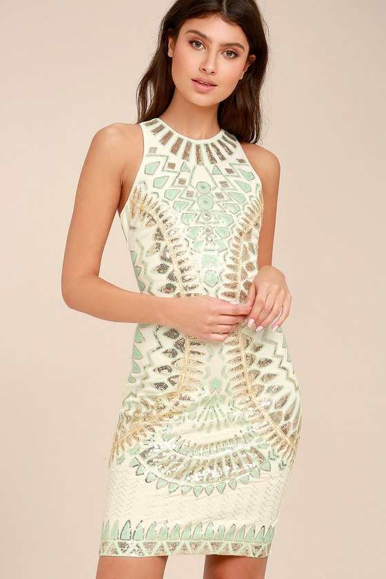 abb4c36663eb Stunning Cream Dress - Sequin Dress - Bodycon Dress