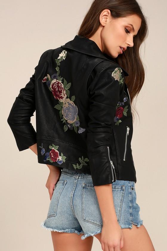 Rock 'n' Rose Black Embroidered Vegan Leather Moto Jacket 4