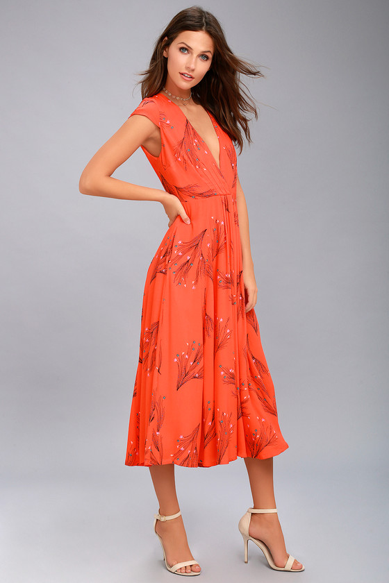 Orange Midi Dress