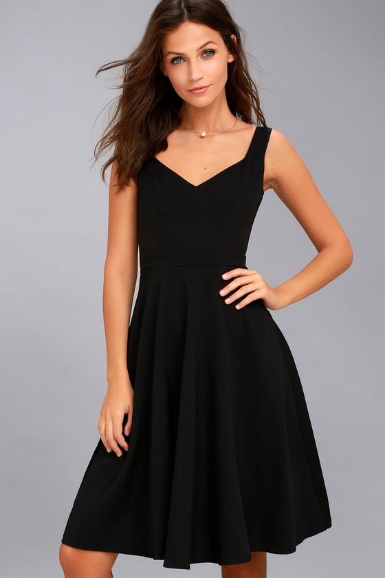 Classic Black Dress - Midi Dress - Skater Dress