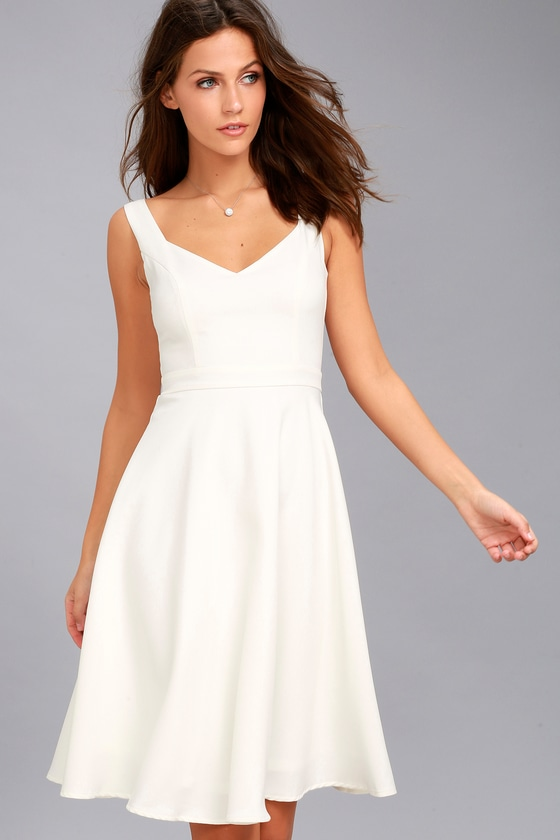 Classic White Dress Midi Dress Skater Dress
