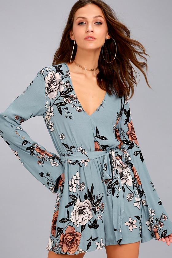 73caa385db MINKPINK New Romantic - Light Blue Floral Print Romper