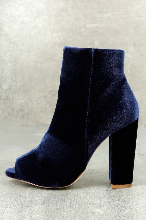 Millie Blue Velvet Peep-Toe Ankle Booties 1