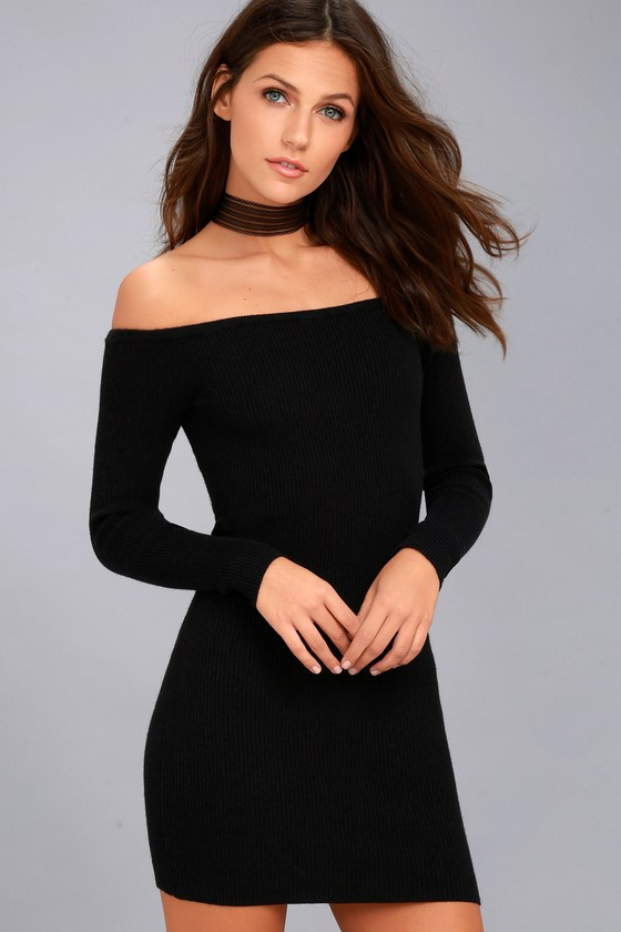 Obey Binx Black Off-the-Shoulder Bodycon Sweater Dress 1