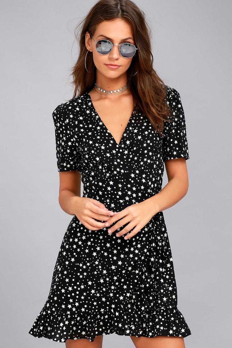 Chic Wrap Dress Short Sleeve Dress Star Print Dress Lulus