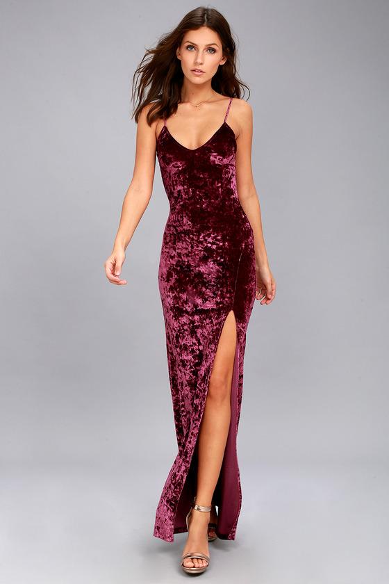 Supernatural Love Burgundy Crushed Velvet Maxi Dress 1