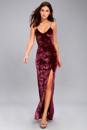 d43e90f505 Stunning Velvet Dress - Velvet Maxi Dress - Burgundy Dress
