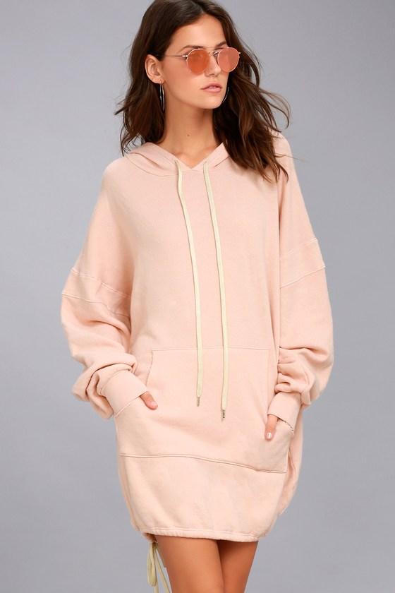 50326fac650 Project Social T Luca - Light Pink Hooded Sweatshirt Dress