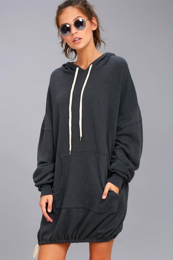 e1a07c987c1 Project Social T Luca - Washed Black Hooded Sweatshirt Dress