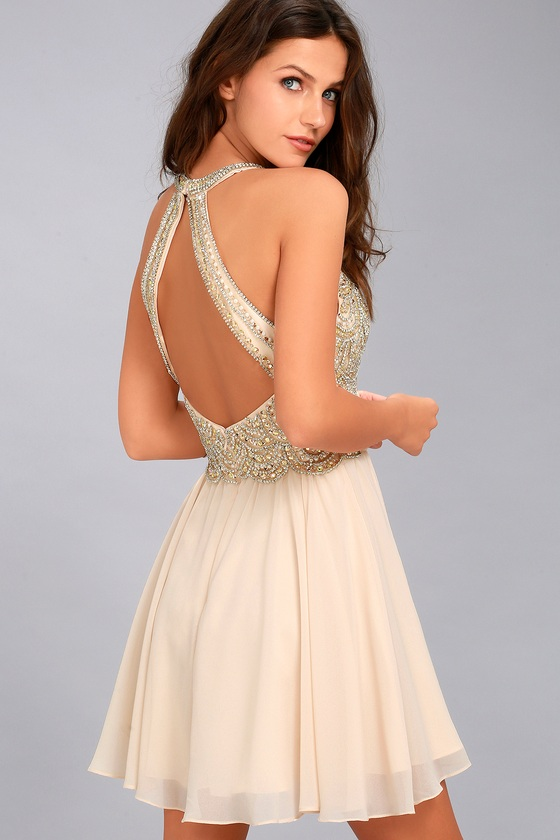 b3268d21916 Pale Pink Dress - Beaded Skater Dress - Rhinestone Dress
