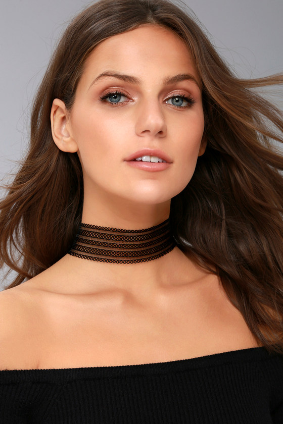 Ribbon Dancer Black Choker Necklace 3
