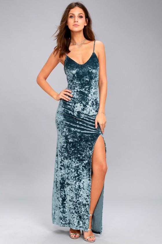 Stunning Velvet Dress Velvet Maxi Dress Blue Maxi Dress