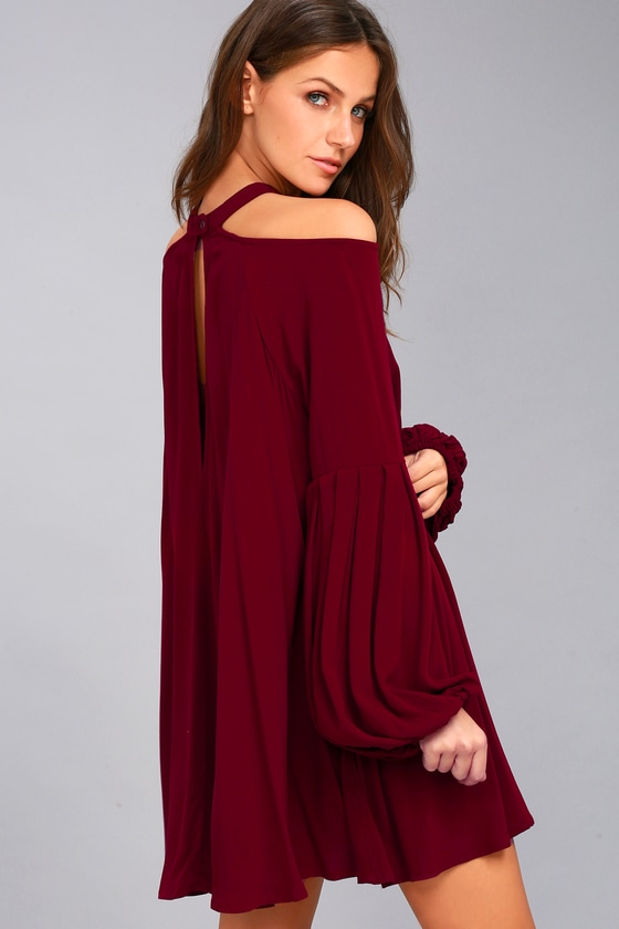 cd8bf0935c7bc Free People Drift Away Burgundy Cold Shoulder Tunic Top