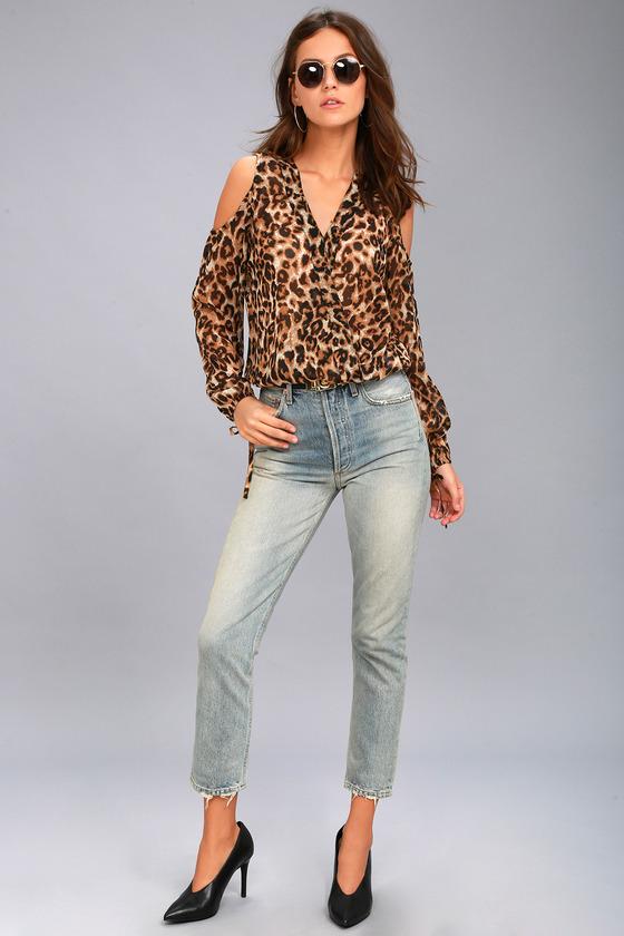 d73ed7aac6173 RD Style Animal Instincts Sheer Leopard Print Cold-Shoulder Top