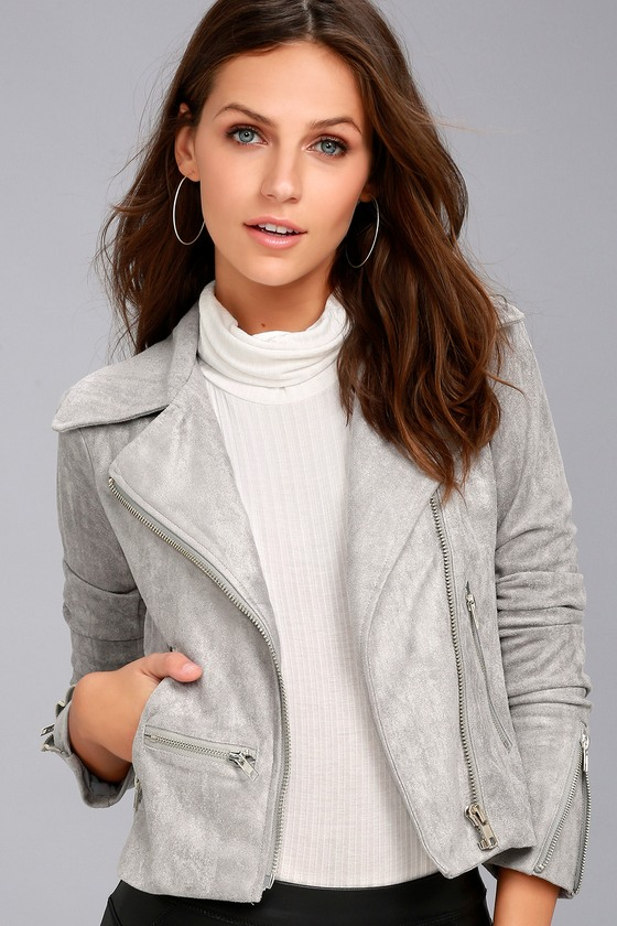Suede with Love Light Grey Suede Moto Jacket 3