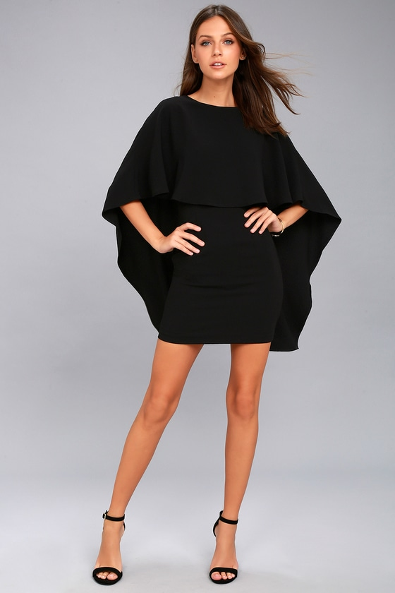 b2dca4afb6 Chic Black Dress - Backless Dress - LBD - Cape Dress