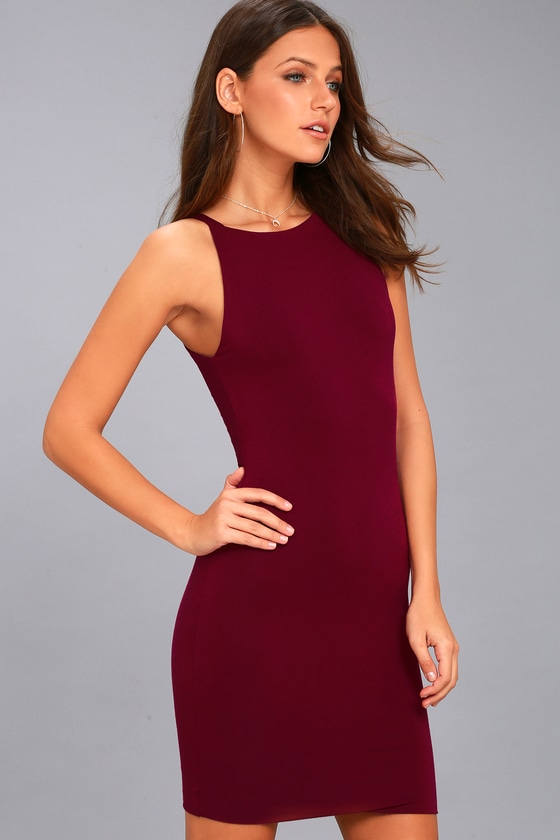 5f0afab71fab Perfect Wine Red Bodycon Dress - Sleeveless Bodycon Dress