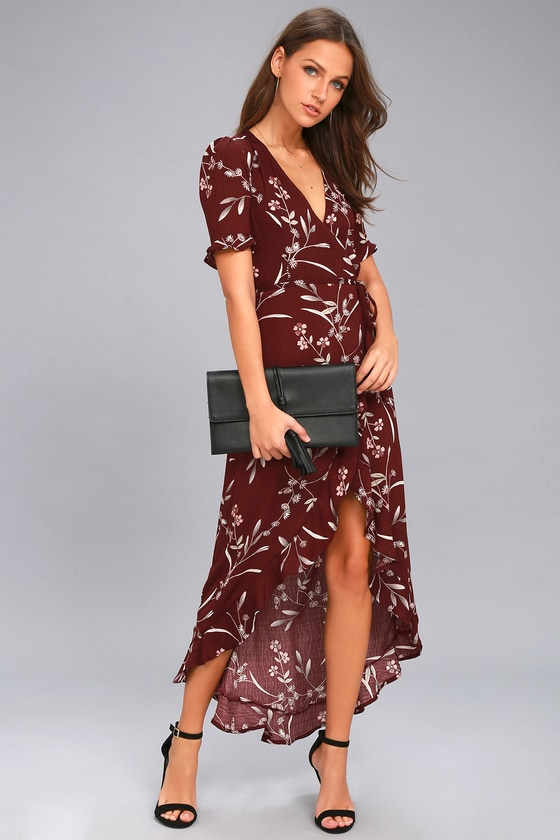 Wild Winds Burgundy Floral Print High-Low Wrap Dress