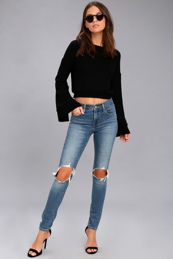 Levi's 721 High Rise Skinny Medium Wash Distressed Jeans 1