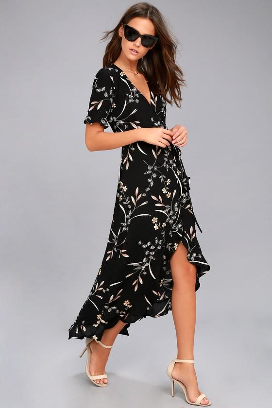c98fdee60e Cute Black Floral Print Dress - High-Low Dress - Wrap Dress