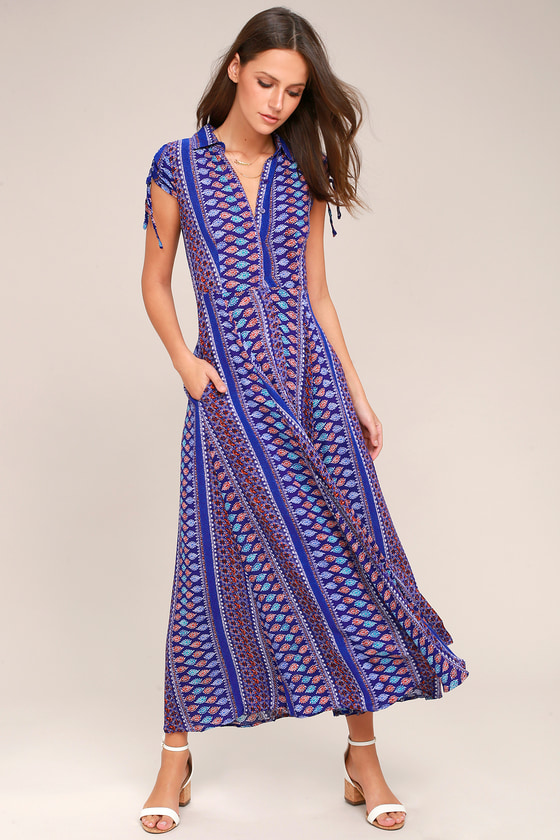 I'm Worth It Royal Blue Print Midi Dress 1