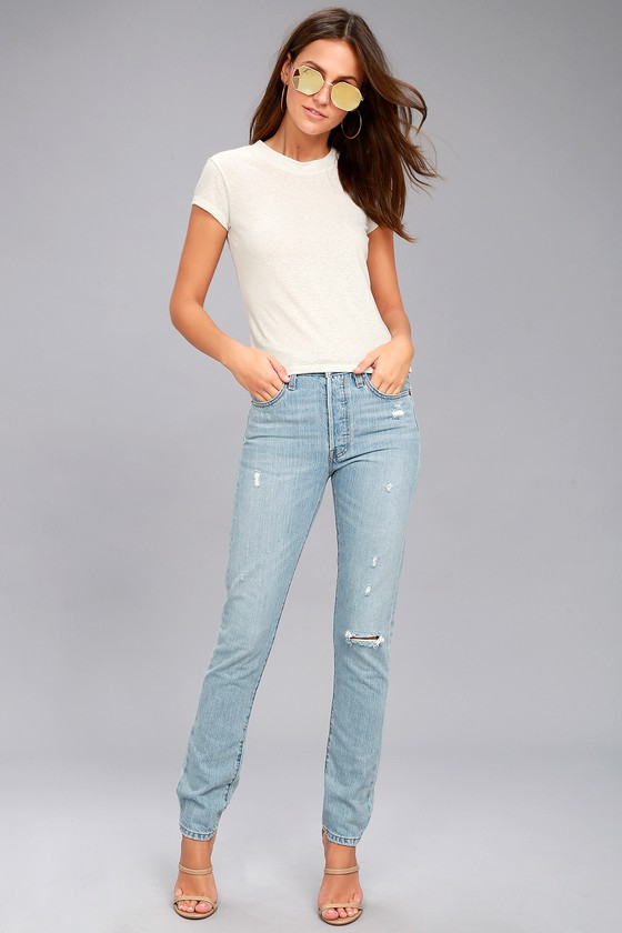 Levi's 501 Skinny Light Wash Distressed Jeans 1