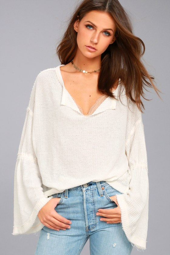Free People Dahlia White Thermal Long Sleeve Top 3