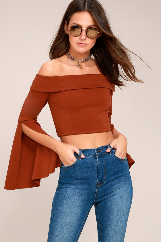 bf4ebace0692f9 Chic Rust Red Top - Off-the-Shoulder Top - Bell Sleeve Top