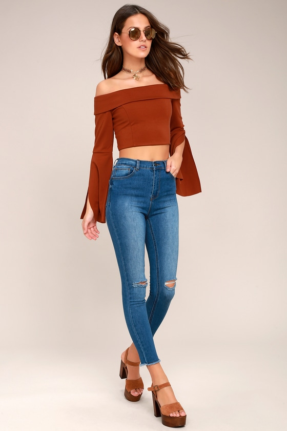 7439c3262d8 Chic Rust Red Top - Off-the-Shoulder Top - Bell Sleeve Top